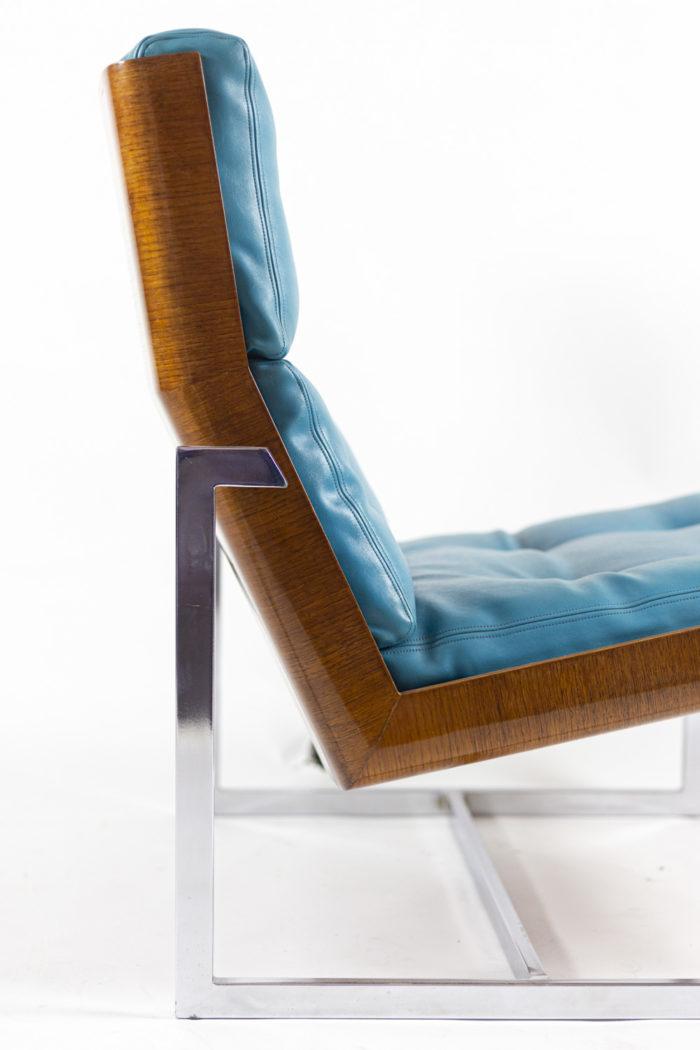 fauteuils cuir bleu contreplaqué pied métal chromé