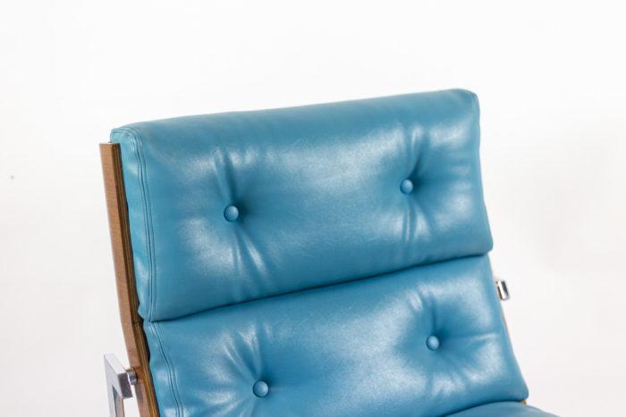 fauteuils cuir bleu matelassé