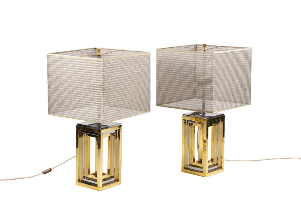 Romeo Rega, Paire de lampes en métal chromé et doré, années 1970
