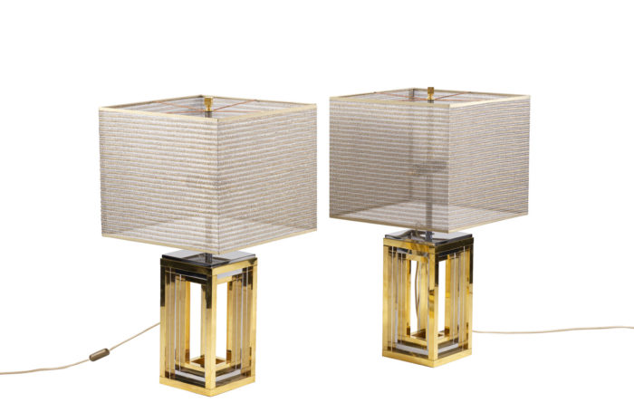 romeo rega lamps chromed and gilt metal