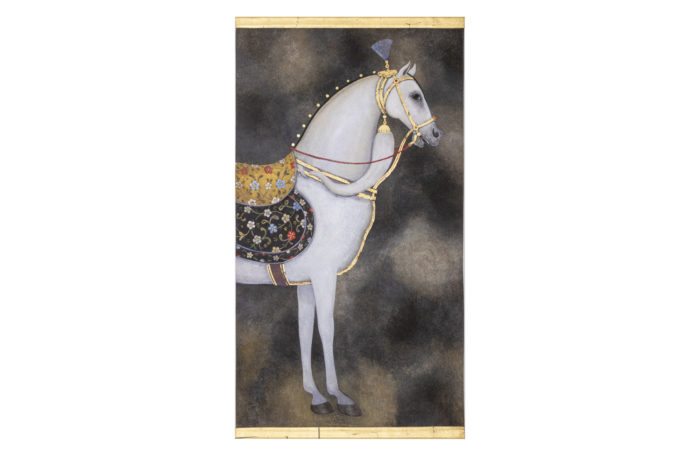 painted canvas horse white