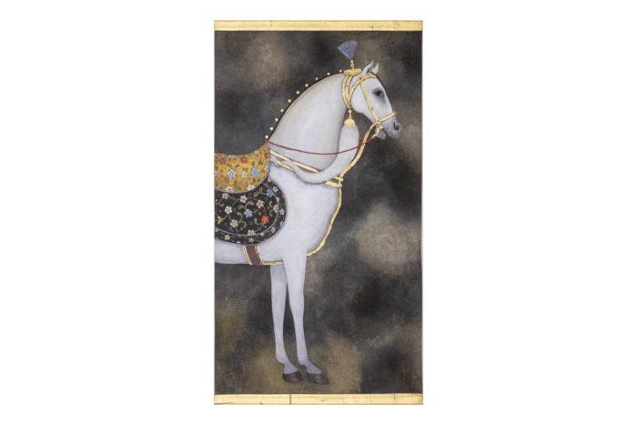 toile peinte cheval arabe blanc