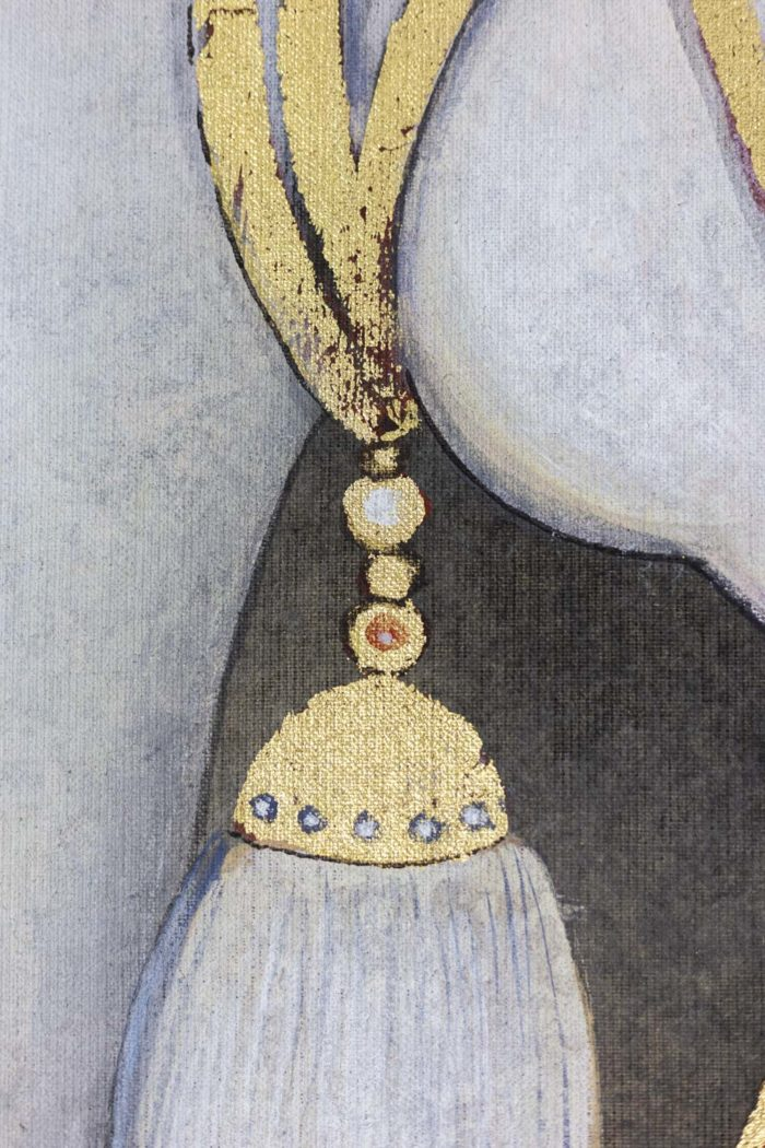 toile peinte cheval arabe blanc détail 3