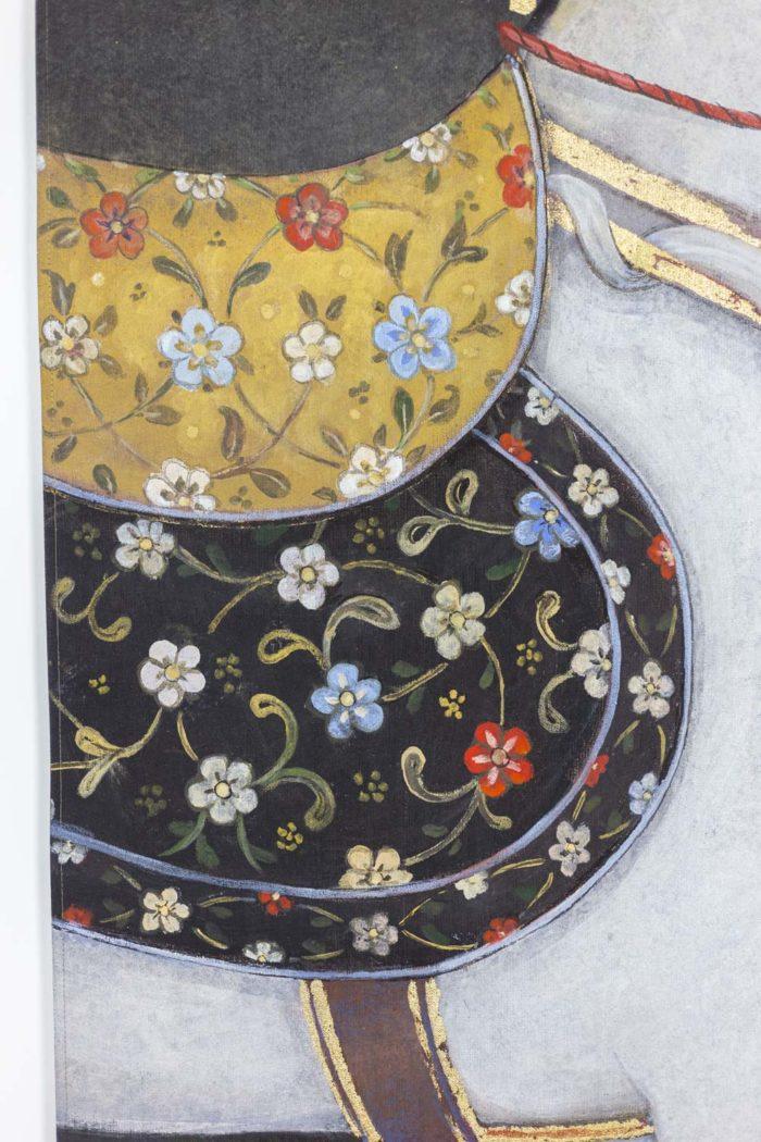 toile peinte cheval arabe blanc détail