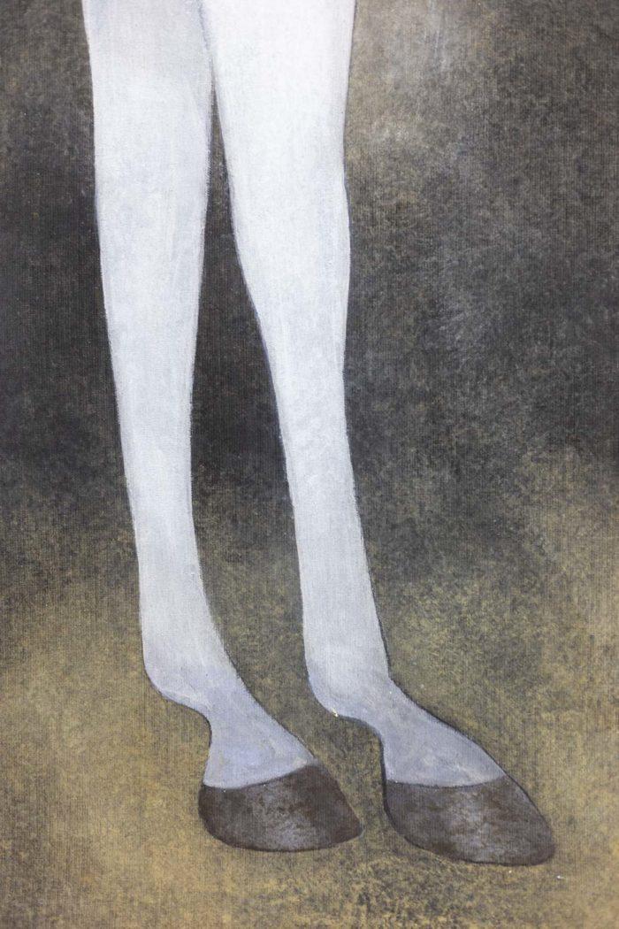 toile peinte cheval arabe blanc jambes