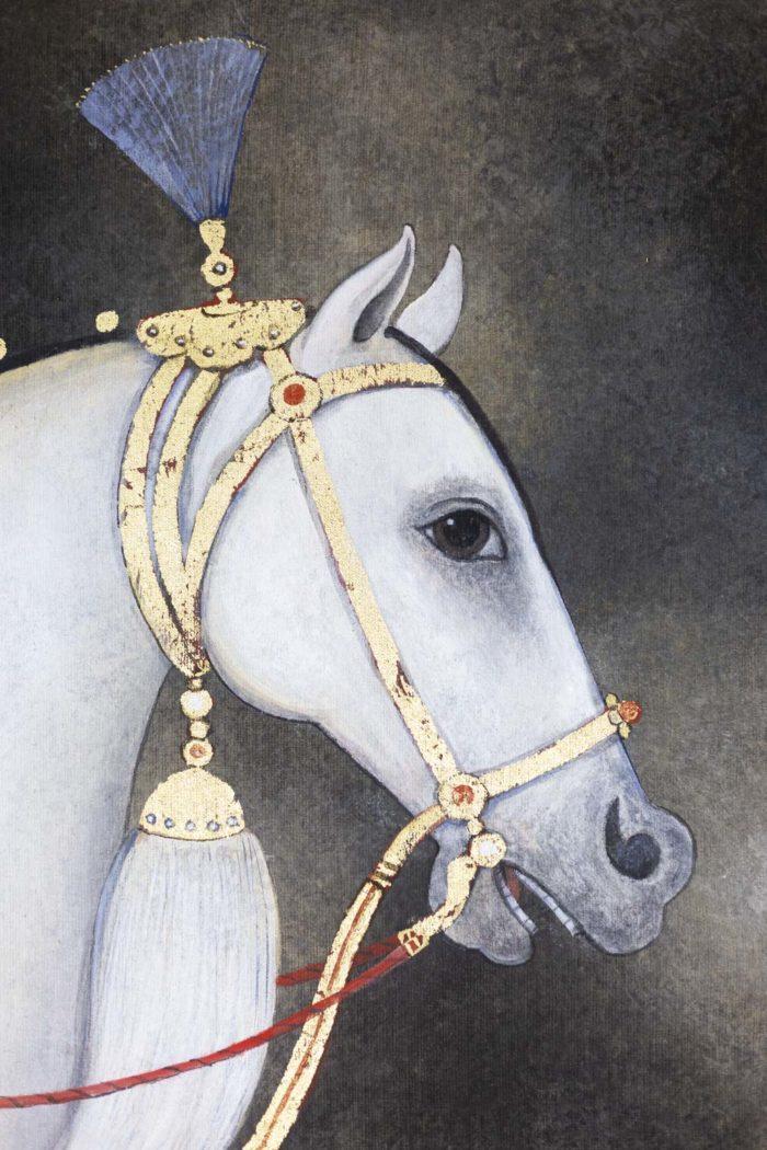 toile peinte cheval arabe blanc tête