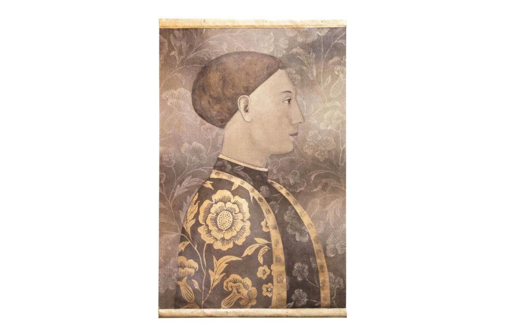 Toile peinte, Portrait d'homme Renaissance, travail contemporain