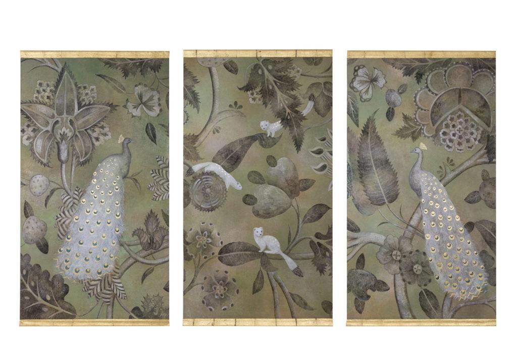Toiles peintes, Paons et hermines, travail contemporain