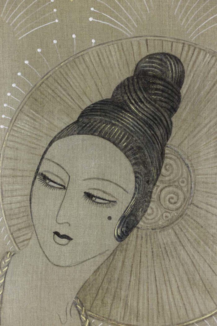 Femme Art déco éventail visage