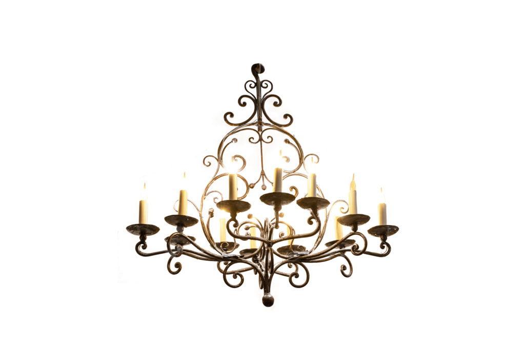 Louis XV style chandelier in wrought iron, XIXe siècle