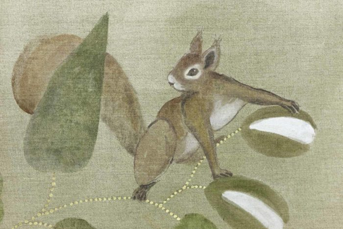 Toile Faisans et écureuil écureuil