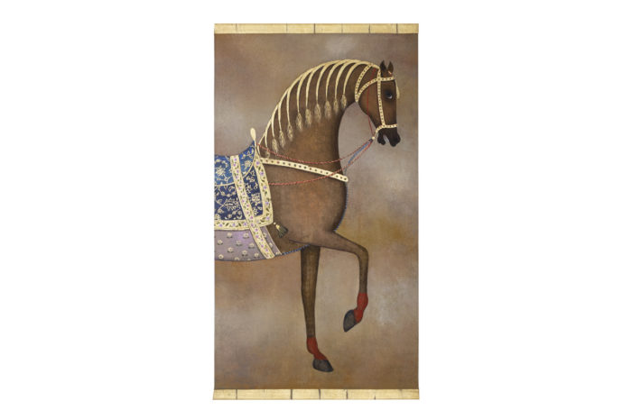 Painted canvas Arabian brown horse 1