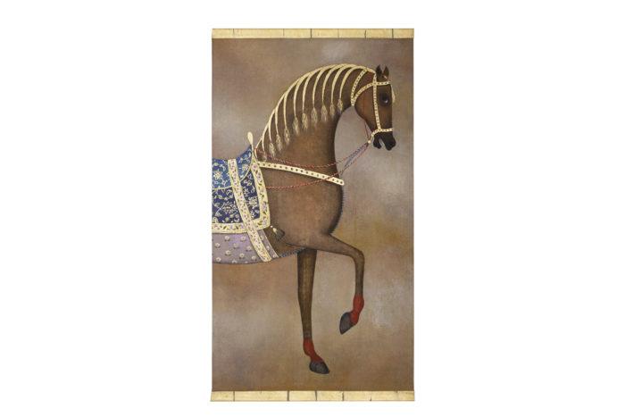 Toile peinte cheval arabe brun ensemble