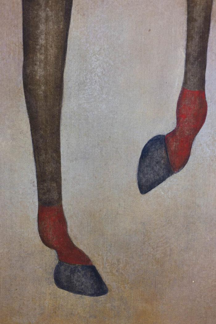Toile peinte cheval arabe brun pattes