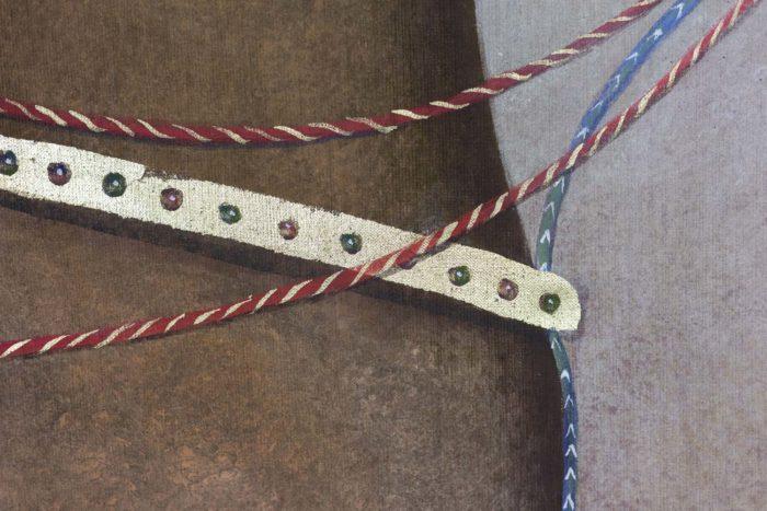 Toile peinte cheval arabe brun rênes