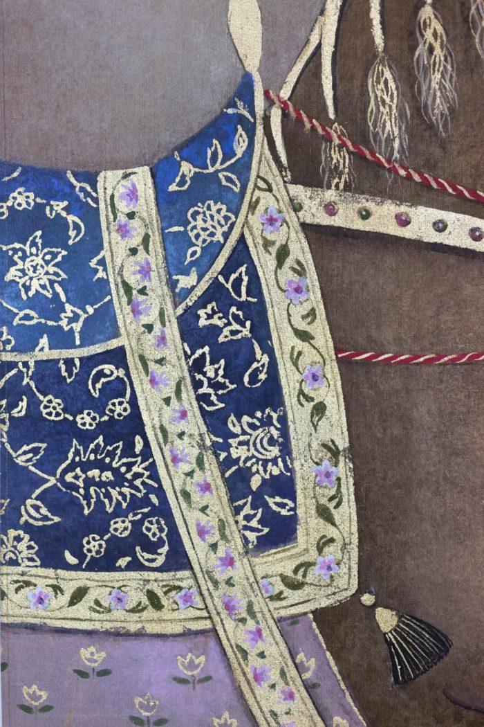 Toile peinte cheval arabe brun selle