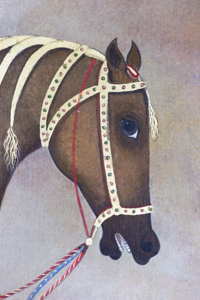 Toile peinte cheval arabe brun tête