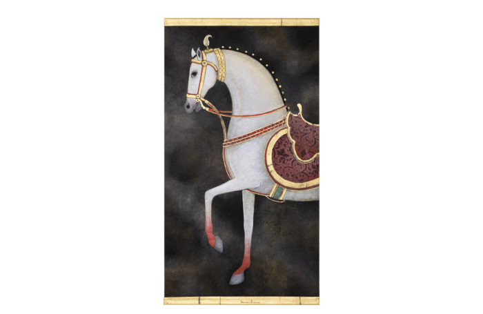Painted canvas white horse 1
