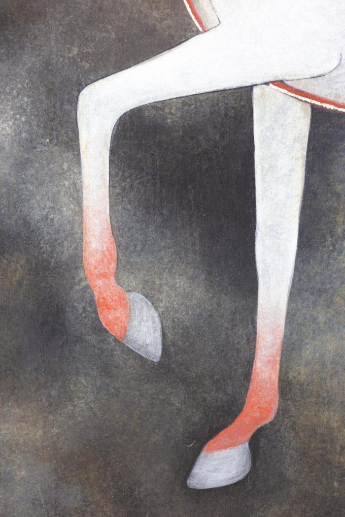 Toile peinte cheval blanc pattes