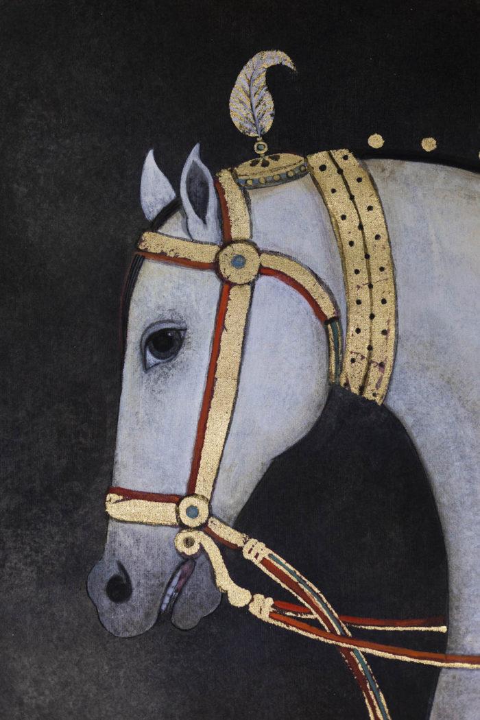 Toile peinte cheval blanc tête