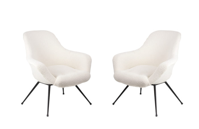 cocktail amrchairs black lacquered metal white fabric