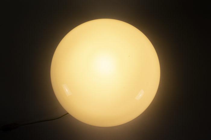 lampe opaline blanche métal chromé space age 3