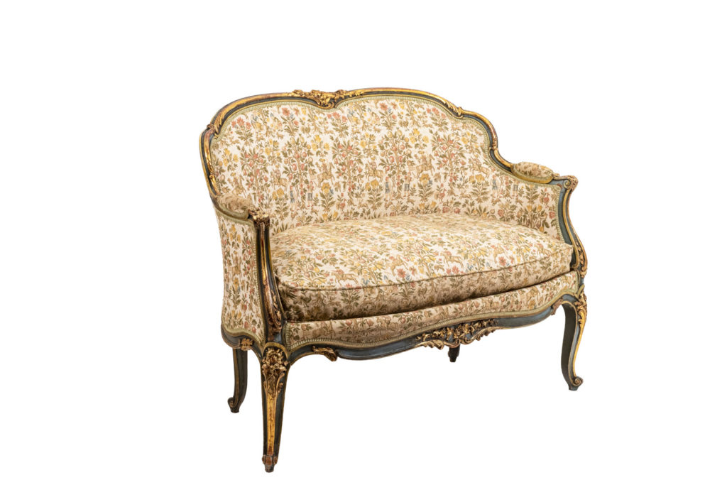 Louis XV style sofa in green lacquer and gilt wood, circa 1880
