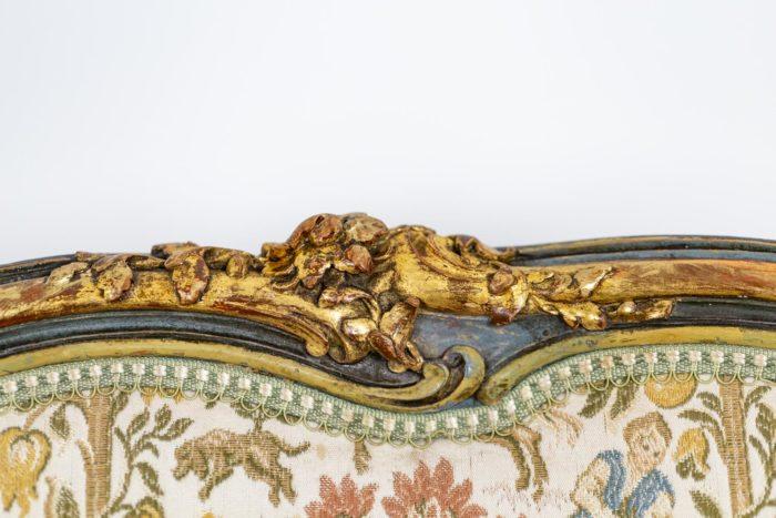 Paire de bergères Louis XV décor fleurs
