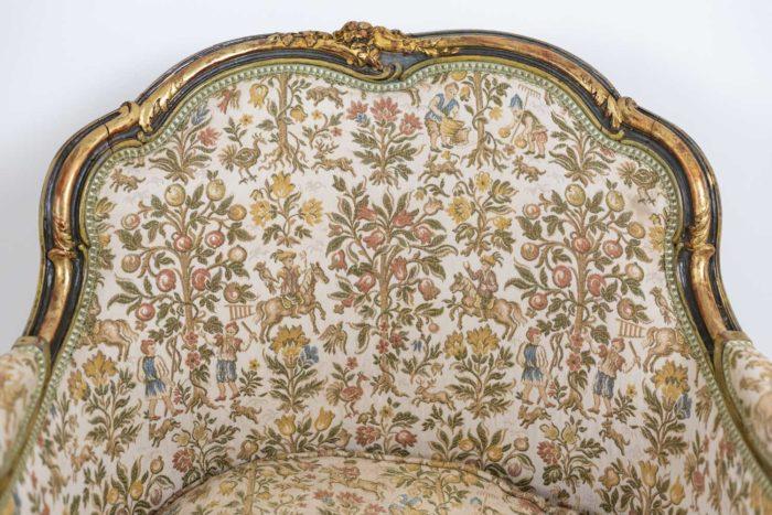 Paire de bergères Louis XV dos et accotoirs