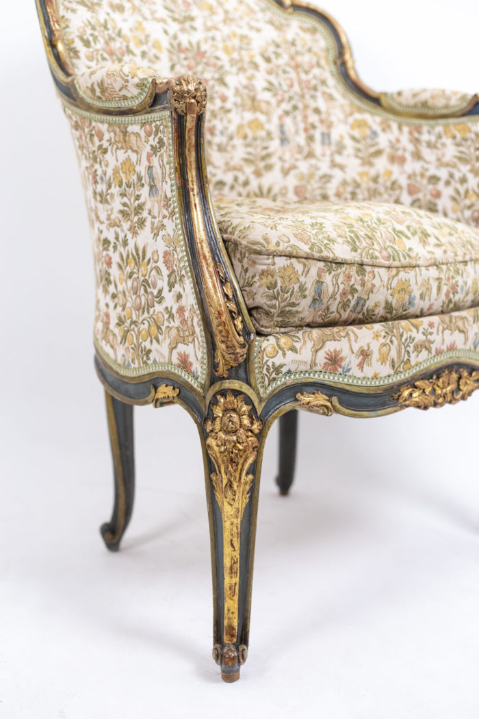Pair of Louis XV style bergeres 6