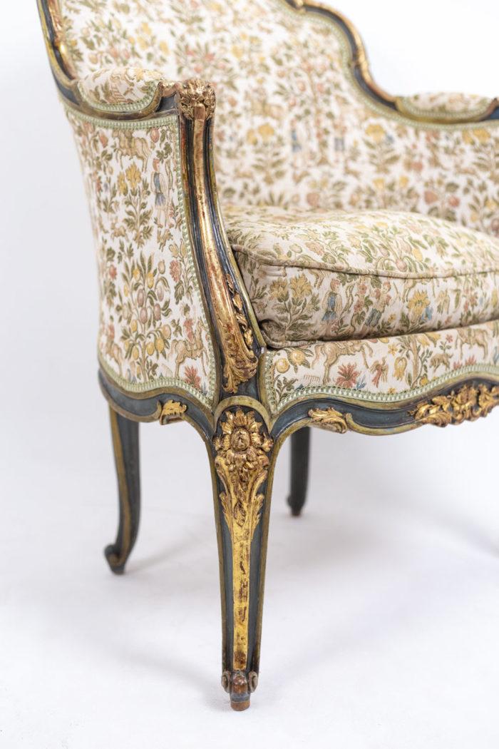 Paire de bergères Louis XV pied