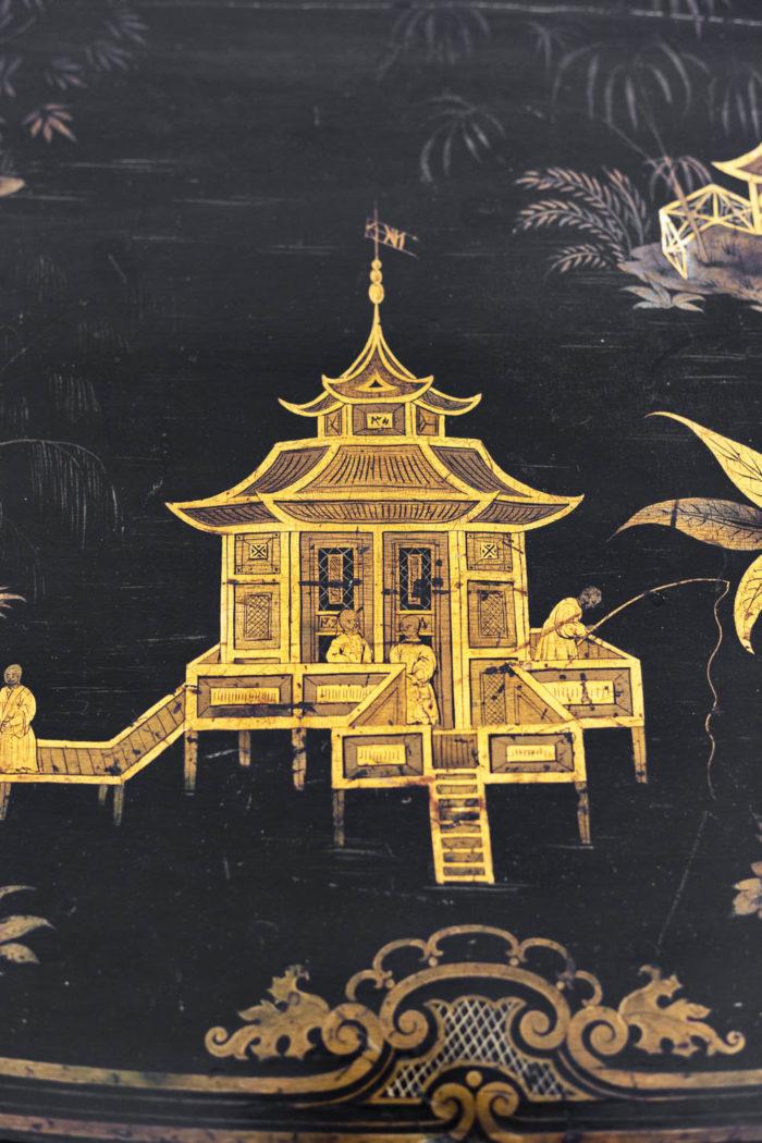 Table à abattant décor pagode