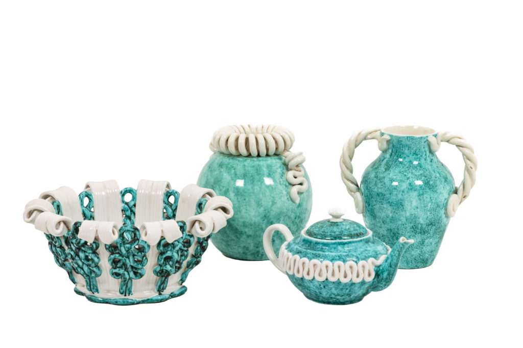 Sainte-Radegonde factory, Blue and white tableware in ceramic, 1950's