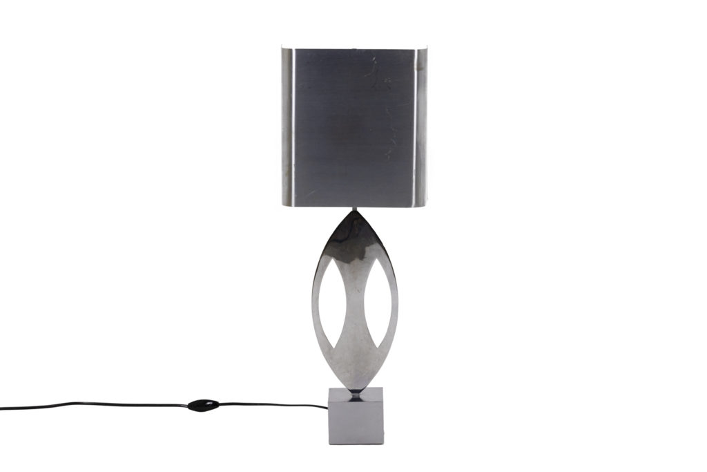 """Maison Charles, pair of """"Almond"""" lamps in stainless steel, 1970's"""