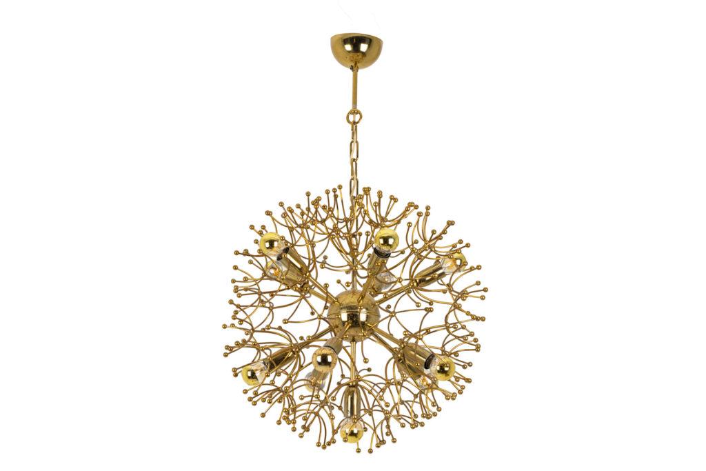 """Gaetano Sciolari, chandelier """"Sputnik"""" in gilt brass, 1970's"""