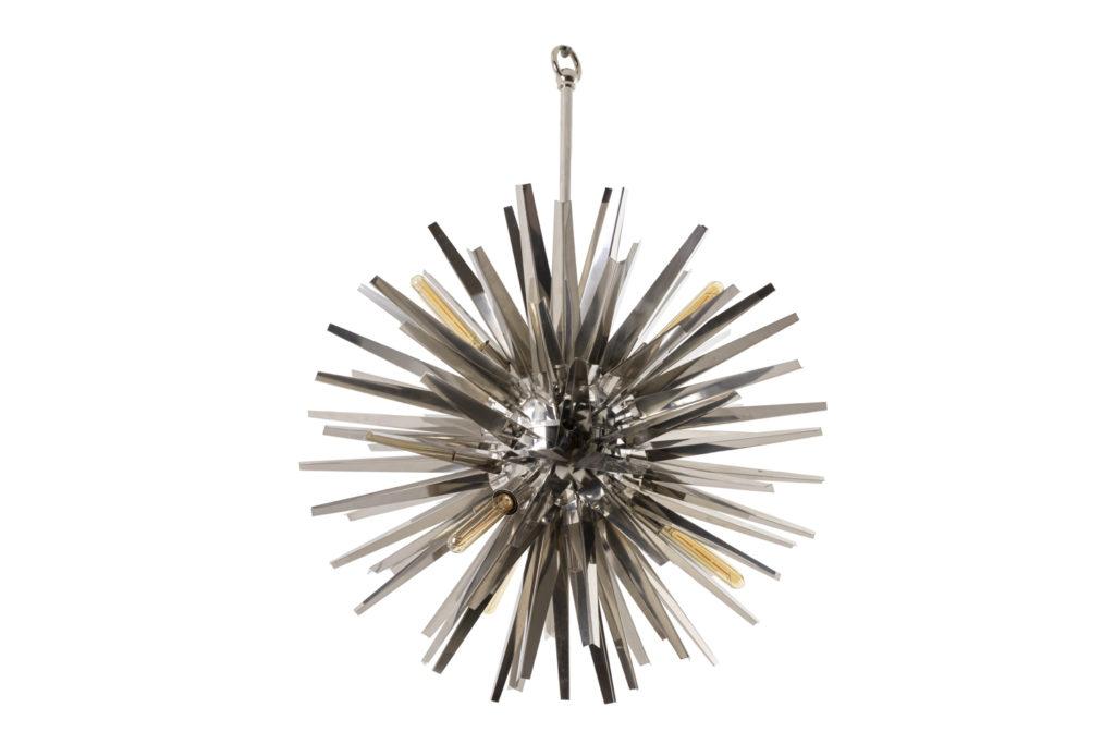 """Eichholtz, chandelier """"Gregorian"""" in chromed metal, contemporary work"""