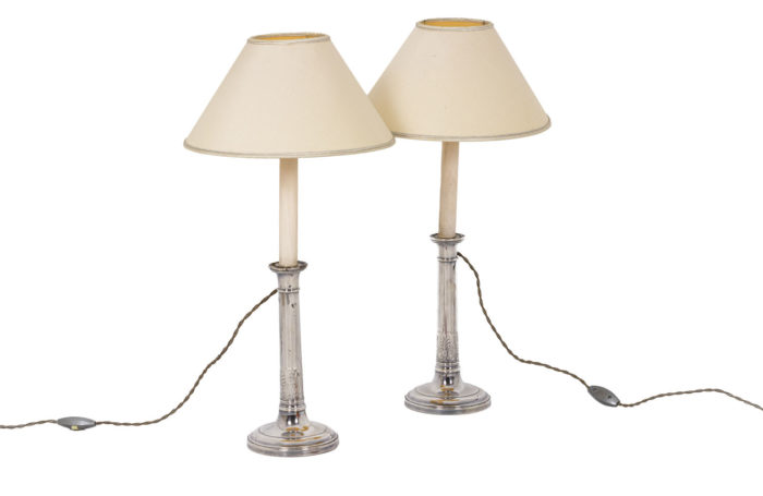 Pair of candlesticks with lampshades