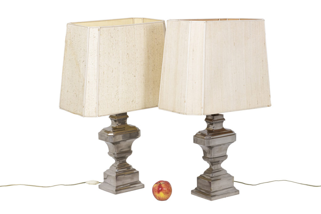 Pair of lamps in silvered brass, 1970's