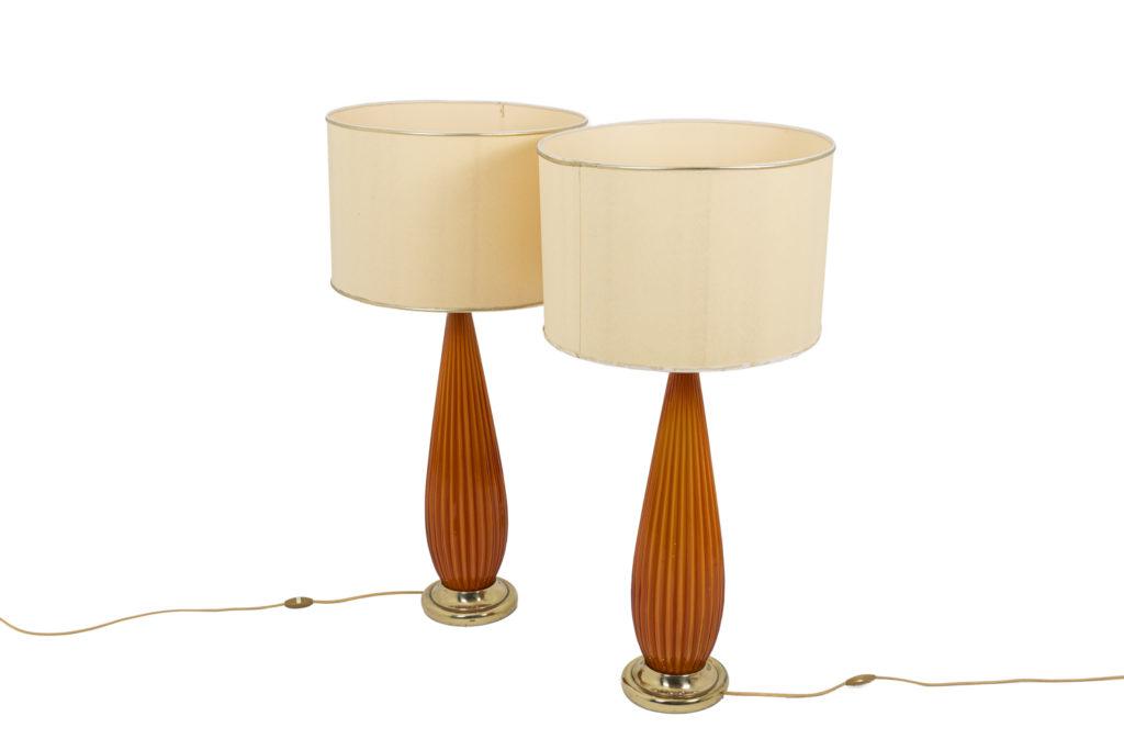 Paire de lampes en verre côtelé et laiton doré années 1950