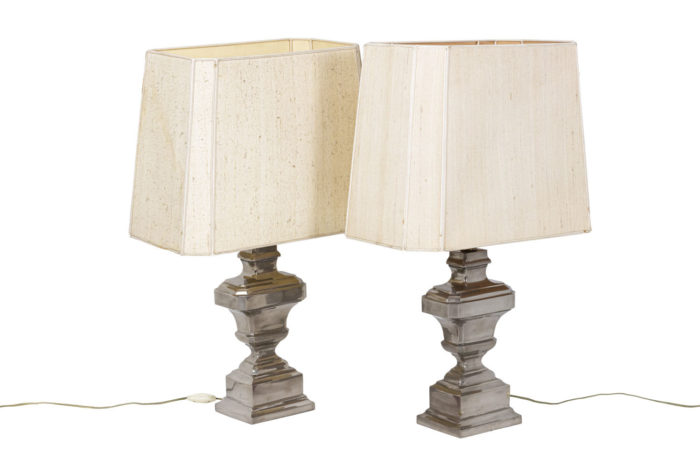 Pair of lamps in silvered ceramic 1