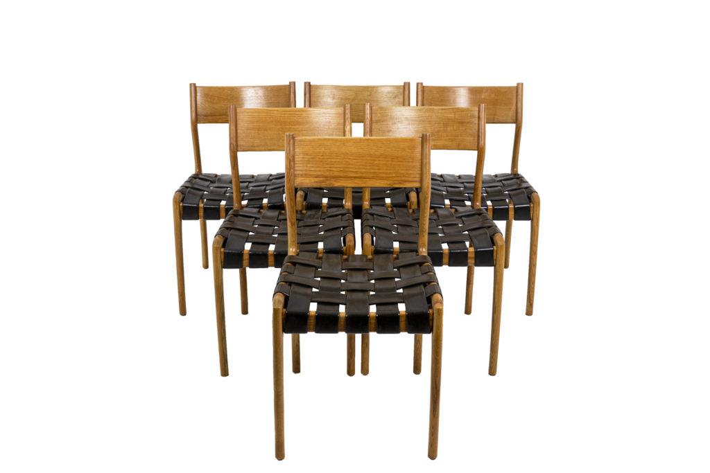 Série de six chaises scandinaves en teck et cuir, années 1960