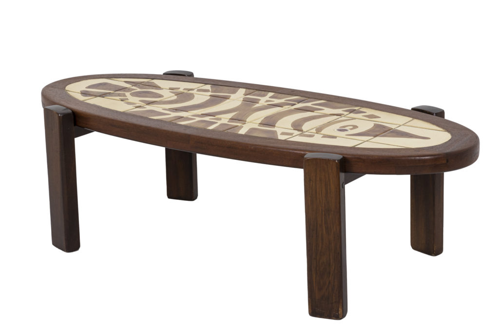 Gustave Raynaud, coffee table in teak and ceramic, 1960's