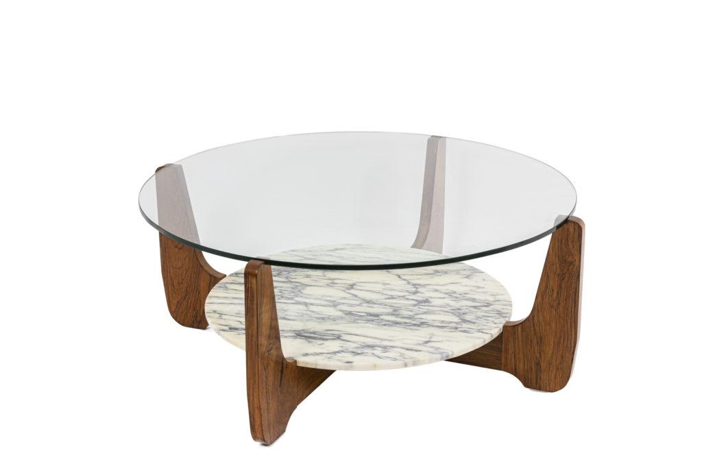 Hugues Poignant, Table basse en palissandre, verre et marbre, années 70