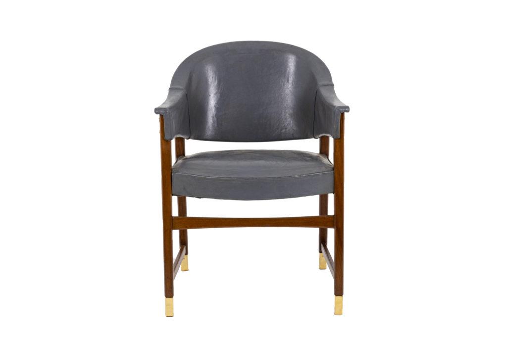 Paire de fauteuils de yacht en teck et cuir, années 20