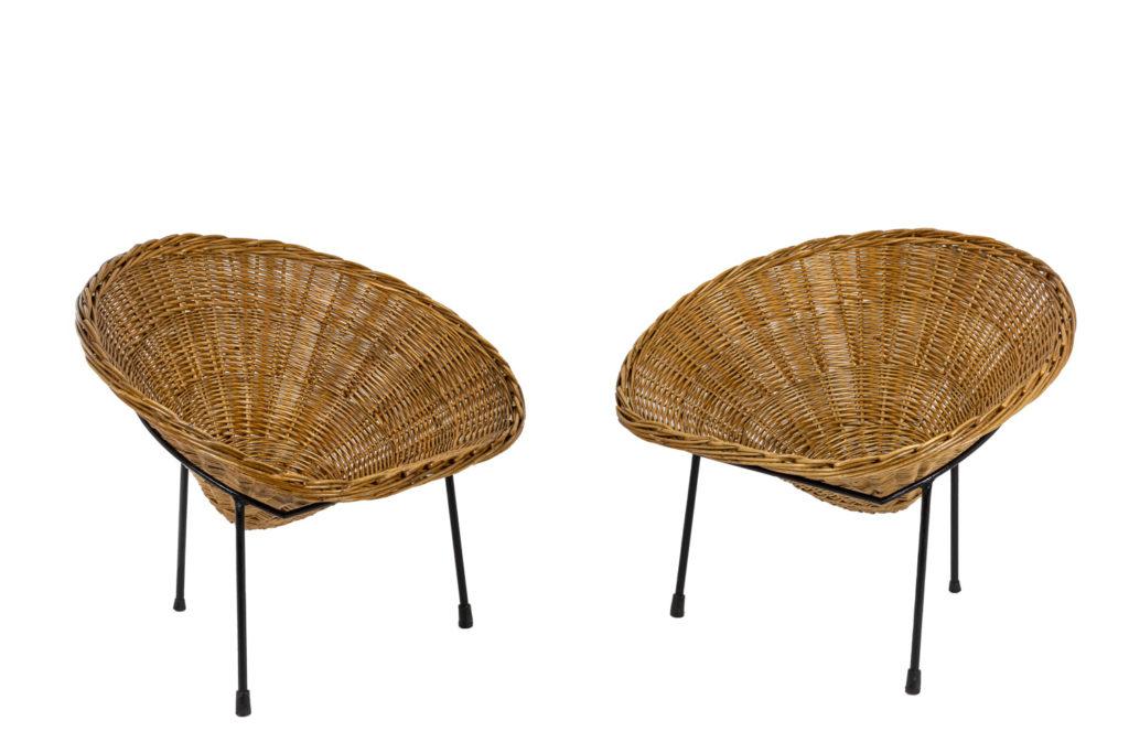 Roberto Mango, Paire de fauteuils «Basket» en rotin, années 1950