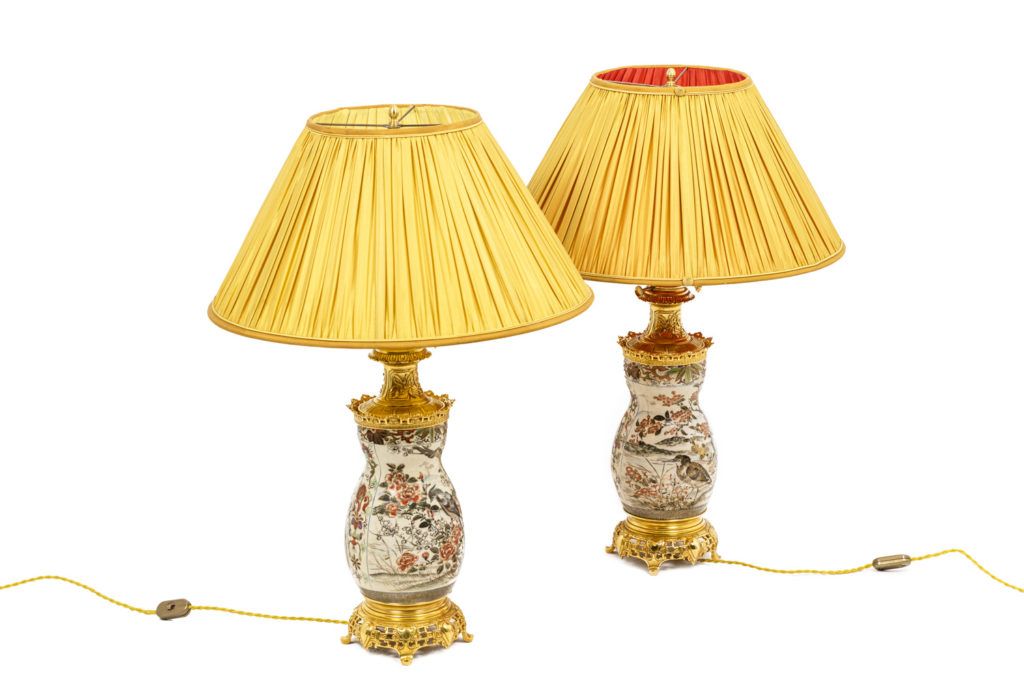 Paire de lampes en faïence de Satsuma, XIXème siècle