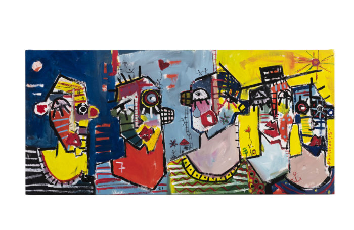Dimitris Pavlopoulos, Me oyes, ayer paso, acrylic on canvas