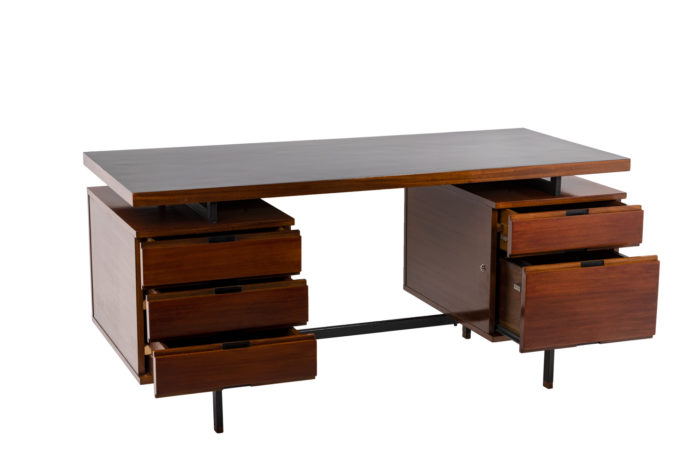 Pierre Guariche, Desk in mahogany and lacquered metal 5