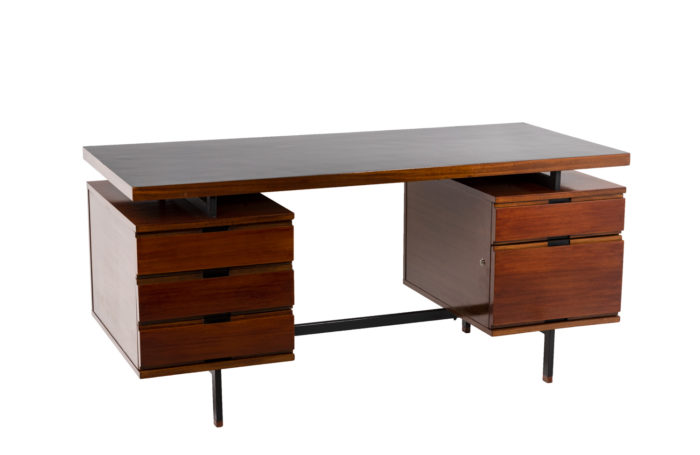 Pierre Guariche, Desk in mahogany and lacquered metal