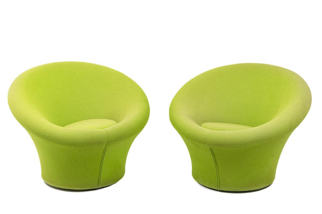 Pierre Paulin, Paire de fauteuils Mushroom en laine, années 1970